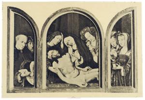 Josef van Arimathea met de passiewerktuigen en een toeschouwer (linkerluik); Maria beweent het lichaam van Christus met H. Johannes en een van de heilige vrouwen (middendeel); Maria Magdalena met de zalfpot en een van heilige vrouwen (rechterluik)