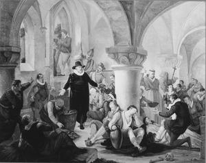 Burgemeester Van der Mathe bezoekt de gevangenen in de Zijlpoort en deelt brood uit (juli 1573)