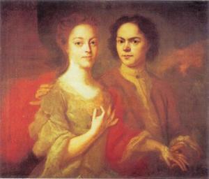 Zelfportret van  Andrej Matveevič Matveev (1701-1739) en zijn echtgenote