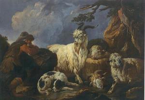 Herder met een hond, bok en twee schapen