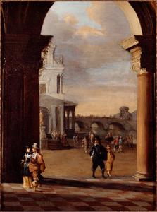 Gezicht op een paleis door een boog, op de achtergrond een brug