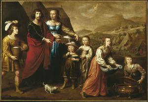 Inzameling van het Manna en een familieportret van Willem van Loon (1605-1645), Margaretha Bas (1608-1679) en hun kinderen