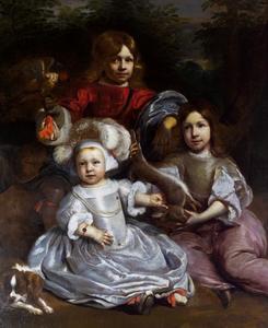 Groepsportret van drie onbekende kinderen