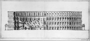 Reconstructietekening van het Colosseum in Rome