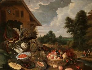 Groente- en vruchtenstilleven in een tuin met huis en landschap in de achtergrond