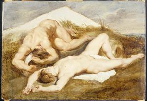 Een studie van twee slapende naakte jongemannen