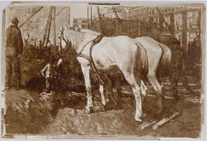 Werkpaarden bij bouwput