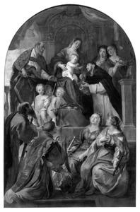 De H. Maagd overhandigt de rozenkrans aan de H. Dominicus in aanwezigheid van vele heiligen
