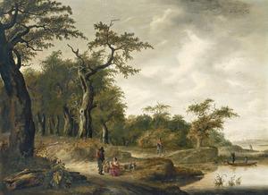Boslandschap met rustende reizigers bij een waterplas