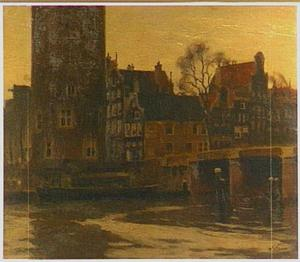 Gezicht op de Montelbaanstoren, te Amsterdam