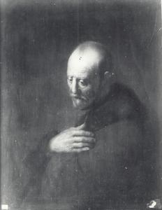 Halffiguur van een biddende oude man
