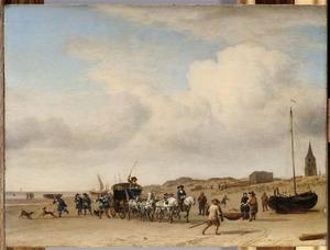 Koets op het strand van Scheveningen