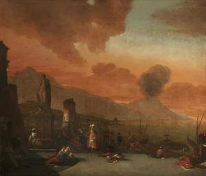 Capriccio van de baai bij Napels met een oosterling en andere figuren