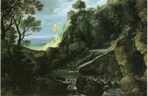 Landschap met een waterval en een musicerende herder