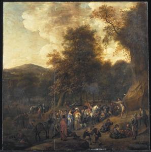 Boslandschap met Johannes de Doper predikend in de wildernis