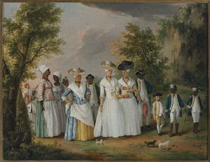 Groep Creoolse vrouwen met bedienden uit de Dominicaanse Republiek
