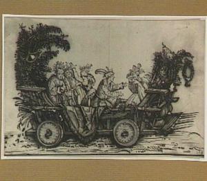 Musicerend gezelschap op een wagen