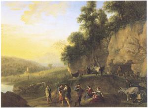 Berglandschap met Jacobs terugkeer naar Kanaän, Rachel zit op de gestolen terafim, die Laban tevergeefs zoekt (Genesis 31:35)