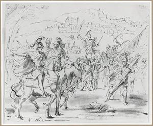 Romeins veldheer geheven op een schild
