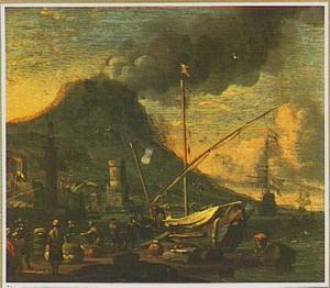Mediterrane haven bij een vulkaan