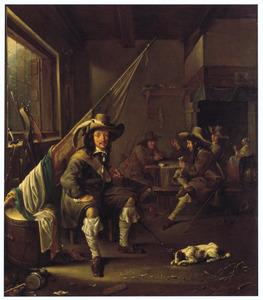 Wachtlokaal met kaartspelende soldaten, in de voorgrond zit een soldaat naast een vaandel en een trommel