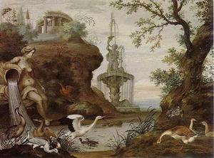 Heuvelachtig rivierlandschap met watervogels en fonteinen