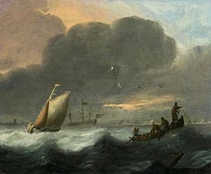 Schepen op onrustig water; vissers in een roeiboot halen hun net binnen