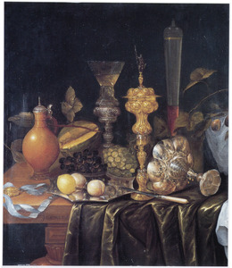 stilleven  met vruchten, siervaatwerk en drinkgerei
