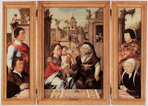 Stichter met patroonheilige (binnenzijde links), Anna-te-Drieën (midden), stichtster met patroonheilige (binnenzijde rechts)