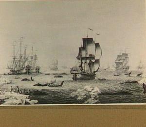 Walvisvaarders in bedrijf (van links naar rechts: ''t Bonte Kalf', de 'Vergulde Walvis' en de 'Faem')