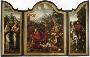 Drieluik met de H. Jacobus de Meerdere in de slag bij Clavijo (middenpaneel); de HH. Franciscus van Assisi en Antonius van Padua (binnenzijde linkerluik); de H. Bavo? (binnenzijde rechterluik); de annunciatie (buitenzijde luiken)