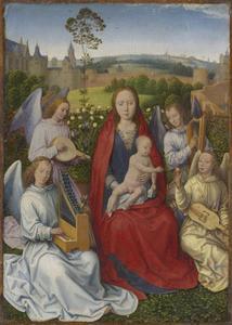 Maria in een rozentuin