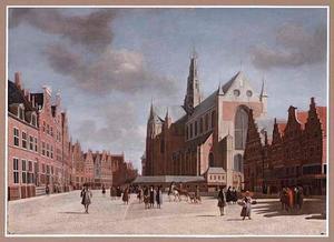 De Grote Markt in Haarlem met de Grote of St.-Bavokerk