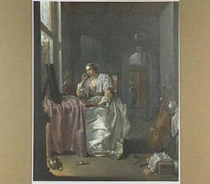 Vanitas; interieur met jonge vrouw aan haar toilet