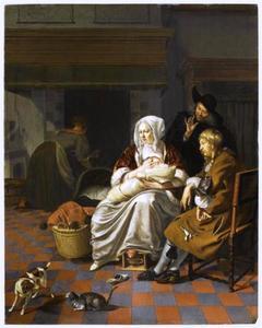 Interieur met enkele figuren, onder wie een vrouw die een baby de borst geeft