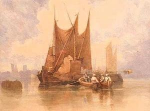 Kustscène met figuren in een roeiboot en boeien