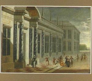 Elegant gezelschap voor een paleis