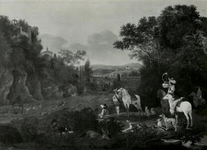 Bebost landschap met hertenjacht