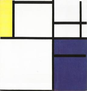 Composition with yellow, blue, and blue-white