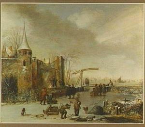 Winterlandschap met figuren op het ijs buiten de wallen van een stad