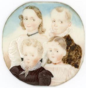 Portret van Anna Elisabeth Petronella (1824-1879), Willem Herman (1826-1859), Maria Martina Wilhelmina (1828-1890) en Jan Cornelis (1830-1884) van Veersen