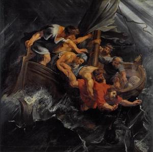 Jona  wordt overboord gegooid door de onwillige zeelui (Jona I:12)