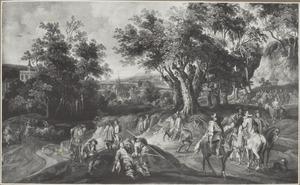 Boslandschap met stropers