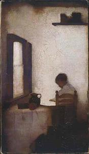 Interieur met lezende jongen