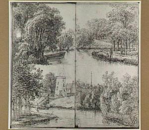 Boomrijke rivierlandschappen met huizen en een afgeknotte molen