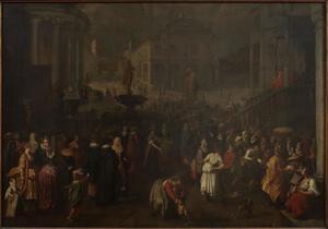 Een stadsplein (Rome?) met veel volk