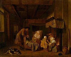 Interieur met een familie bij de haard