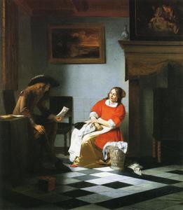 Een man die een vrouw een brief voorleest in een deftig interieur