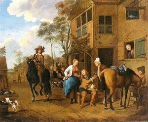 Dorpsstraat met reizigers voor een herberg