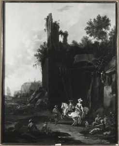 Zuidelijk landschap met ruiters en bedelaars bij de ingang van een herberg onder een ruïne, een aanlegplaats in de verte